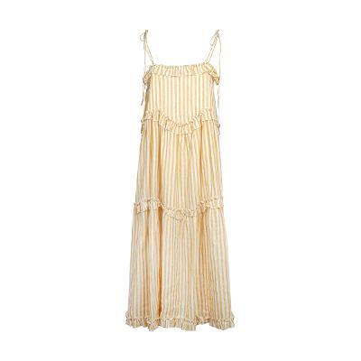 frill detail stripe dress yellow